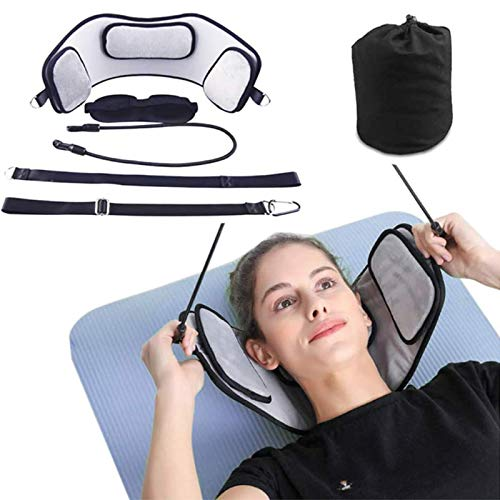 JBTM Head Traction Hammock with Adjustable Straps for Neck Head Pain Relief - Portable Cervical Stretcher Device