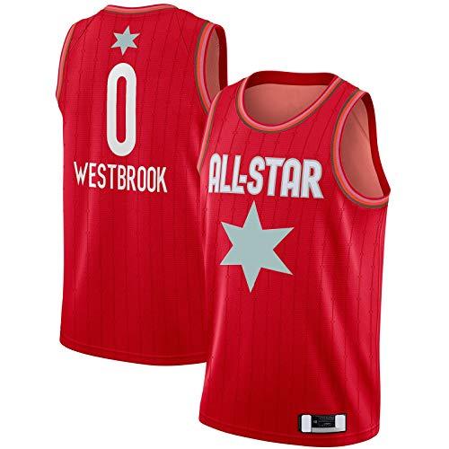 Jersey de baloncesto de malla bordado Deportes #0 Juego Swingman acabado Jersey rojo - Edición Icono