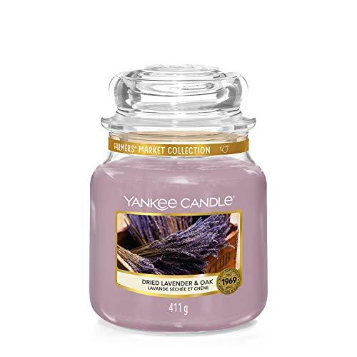 Yankee Candle Medium Jar Scented Candle, Dried Lavender and Oak, Farmers' Market Collection