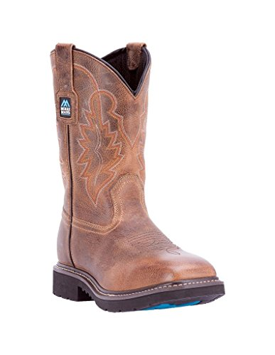 """McRae Industrial Men's 11"""" Pull On Western Work Boot Wide Square Toe Brown 10.5 D"""