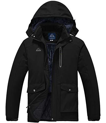 TBMPOY Men's Waterproof Ski Snowboarding Jacket Windproof Mountain Rain Jacket Winter Warm Snow Coat Black M