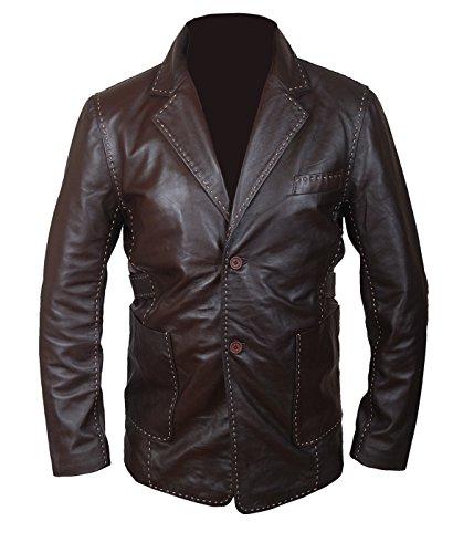 Men Movie Jacket Sheepskin Leather Brown Coat