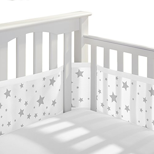 BreathableBaby Classic Breathable Mesh Crib Liner - Starlight White and Gray