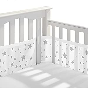 BreathableBaby Classic Breathable Baby Mesh Crib Liner, Anti-Bumper, Non- Starlight White and Gray