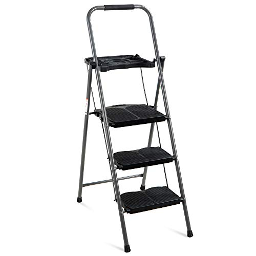 Best Choice Products 3-Step Ladder, Portable Folding...