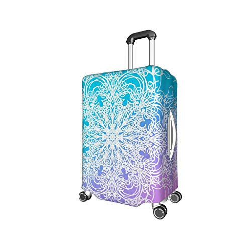 Knowikonwn Magical Mandala Travel Suitcase Cover Protector - Stripes Spandex Multi Size fits Many Luggage Case White s (18-21 inch)