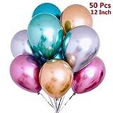 50 Stück Luftballons Metallic,Bunt Verchromte Helium Ballons 6 Metallischen Farben Metallfarbe...