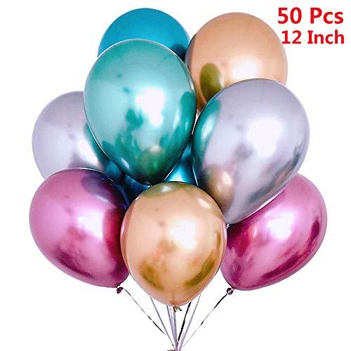 50 Stück Luftballons Metallic,Bunt Verchromte Helium Ballons 6 Metallischen Farben Metallfarbe Dekoration für Vintage Jugendweihe Junge Geburtstag JGA Party Deko (Gold Silber Blau Grün Rosa Lila)