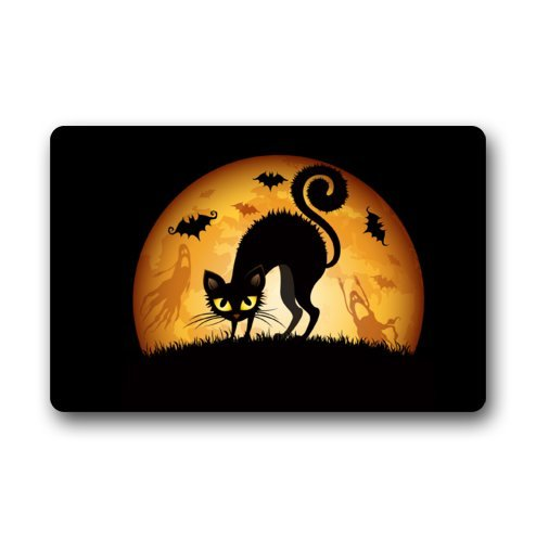Custom IT Halloween Cat Ghosts Bats Lune Herbe rectangulaire décoratif antidérapant Paillasson 15,7 par 23,6 par 3/40,6 cm