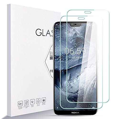 LZS Panzerglas Schutzfolie für Nokia 6.1 Plus,9H Härte Glas Super Langlebig, Anti-Öl,Schutzfoliefolie Displayschutz Displayschutzfolie für Nokia 6.1 Plus 2 Stück