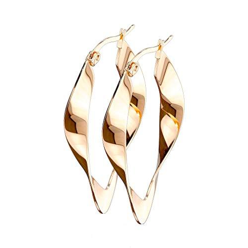 beyoutifulthings - 1 paio di orecchini a cerchio, da donna, linea irregolare, design ovale, in acciaio chirurgico, multicolore e Acciaio inossidabile, colore: metallic, cod. SE3546-40-RD