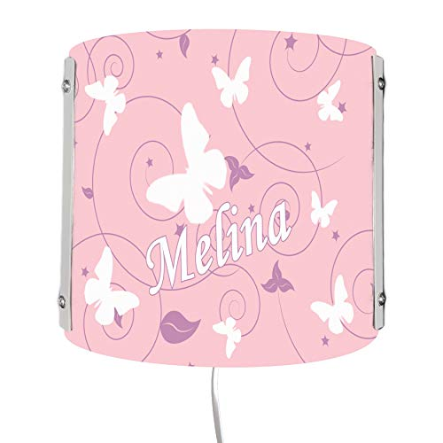 CreaDesign WA-1032-51 , Schmetterling rosa lila, Kinderzimmer Wandlampe personalisiert mit Namen, Nachtlicht / Schlummerlicht für Steckdose, E14, 22 x 22,5 x 85 cm
