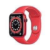 apple watch series 6 gps, cassa in alluminio product (red) da 44 mm con cinturino sportivo product (red) (ricondizionato)