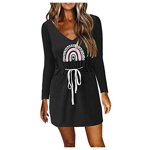 IKFIVQD Vestido de túnica de manga larga para mujer, con cuello en V, casual, con tirantes de espagueti, sin mangas, con cordón, bolsillos, gris, XX-Large