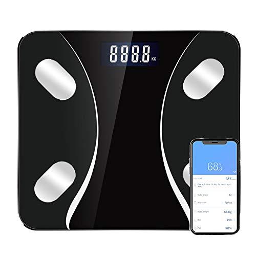 CFFDDE Lichaamsanalyseweegschaal, bluetooth-weegschaal, lcd-display, ondersteuning voor 14 talen, app, meting van gewicht, BMI, vet, spiermassa, vocht zwart