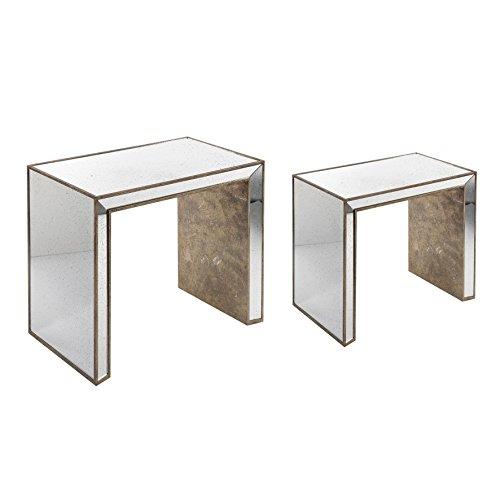 Côté Table 25524 Table Gigogne avec Miroir Bois MDF/Bois Sapin/Pin Patiné Mordoré 69 x 41 x 60/53 x 36 x 47 cm 2 Pièces