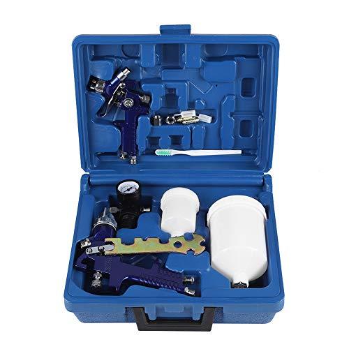 Lackierpistole Set, Schwerkraft Typ Pneumatische Spritzpistole 1,4mm + 0,8mm Düsen Pneumatikwerkzeugsatz mit Tassen für die Automobilindustrie, Ausrüstung und Möbelfarbe