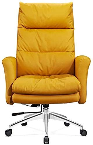 WSDSX Office Chairs Executive Office Chair,Ergonomic Leather Chairs with Segmented Comfy High Back and Thick Padding Reclining Computer Desk Chair, (Color : Yellow)