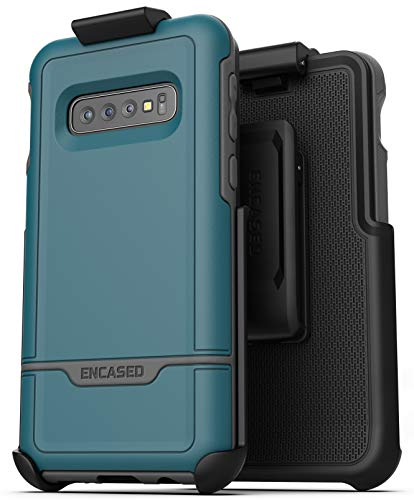 Encased Galaxy S10 Plus Protective Belt Case - Rebel Armor, Military Grade Protection with Heavy Duty Holster Clip (for Samsung S10+) Ocean Blue