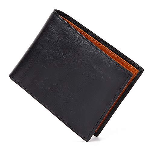 [藤乃革工房] 財布 二つ折り 本革 レザー 小銭入れ メンズ ビンテージ加工 (ブラック)