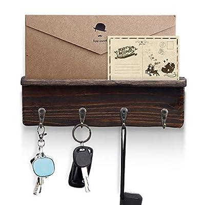 Amazon - 50% Off on  Key Holder Wall Mounted Wood Rustic Coat Rack with 4 Metal Key Hooks