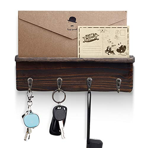 NOZE Key Holder Wall Mounted Wood Rustic Coat Rack with 4...