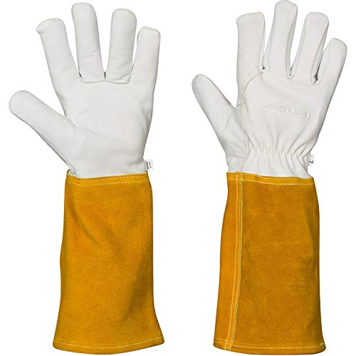 Animal Handling Gloves - For Falconry, Dog, Hawk, Cat, Bird and Raptor Handling - Anti Bite, Scratch Leather and Kevlar (Large)