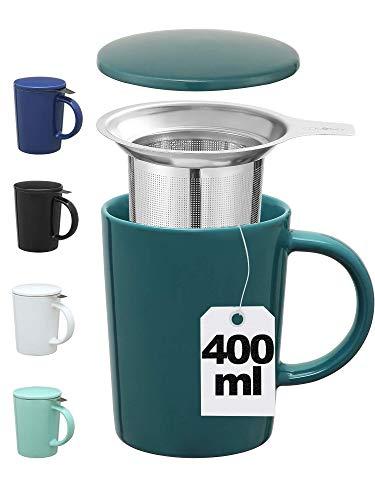 Taza de Te con Filtro y Tapa - Ceramica - Mantiene Caliente la Infusion - XL 400ml Grande - Verde Azulado