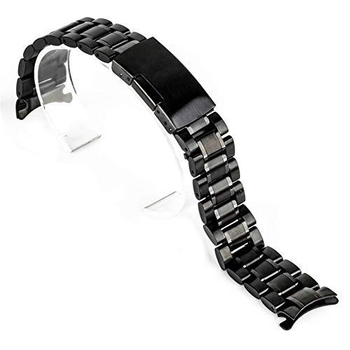 RHBLHQ 18/20/22/24 mm de Acero de Metal Curvado Fin del Reloj Unisex Inoxidable Reloj de Pulsera Correa de Doble Pliegue de implementación Pulsera Broche (Color : Black, Size : 24mm)
