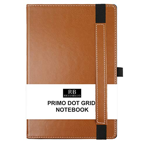 RICCO BELLO Primo Dotted Hardcover Lay Flat Notebook for Bullet Style Journaling - Pen Loop, Vegan Leather, 120 gsm Thick Paper, Elastic Band Closure, Two Ribbon Bookmarks, 5.7 x 8.4 Inches (Brown)