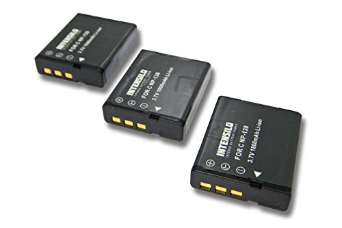 INTENSILO 3x batteria compatibile con Casio Exilim EX-ZR200, EX-ZR300, EX-ZR400, EX-ZR410 fotocamera digitale DSLR (1800mAh, 3,7V, Li-Ion)