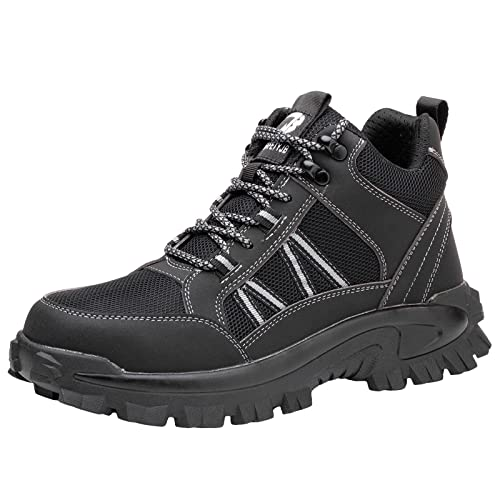 Botas De Trabajo Hombre Mujer Puntera De Acero Botas De Seguridad Buffer Transpirable Industria De La Moda Zapatillas,Negro,40 EU