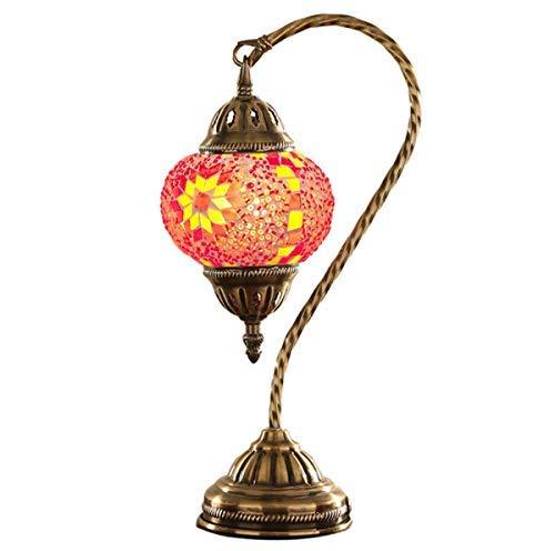 GDLight Schwanenhals Türkische Tischlampe Rote Mosaik Glas Schreibtischlampe Tiffany Stil Marokkanische Laterne Nachttischlampe für Wohnzimmer Schlafzimmer