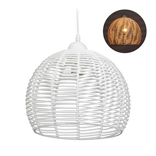 Relaxdays Rattan Lampe, für Küche, Wohnzimmer & Esszimmer, E27-Fassung, 40W, 1-flammige Hängelampe, HxD: 120x28 cm, weiß