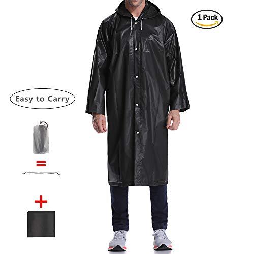EnergeticSky Regenjacken Wiederverwendbar Regenponcho, Umweltfreundliche Eva Regenmantel, Wasserdicht Regenjacke mit Aufbewahrungstasche für Regenschutz - by (Schwarz-1 Pack)
