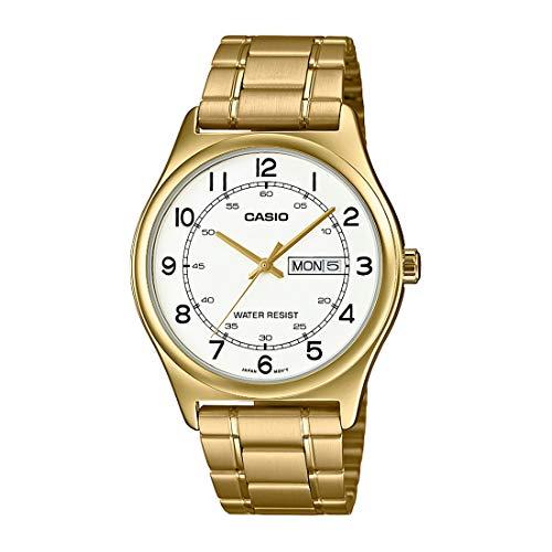 Casio MTP-V006G-7B - Reloj analógico para hombre (acero inoxidable, fácil lector, esfera blanca, fecha de día y fecha, analógico, para hombre