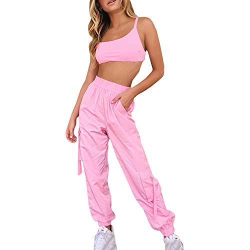 Yying Juego de Dos Piezas en Color Rosa Caramelo Conjunto de Top y Pantalones a Juego de Mujeres Conjunto de Joggers y Conjunto de Mujeres Traje Rosado Top de Joggers y Joggers