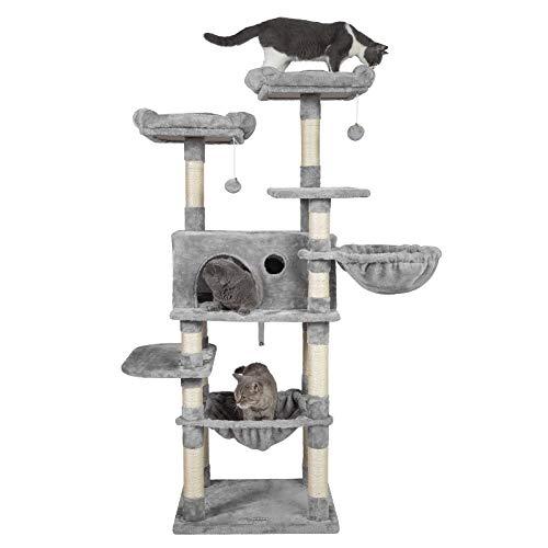 Hey-brother Kratzbaum für große Katzen, 160 cm Kletterbaum, Hellgrau EMPJ025W
