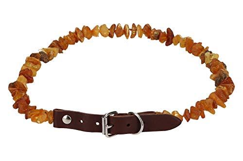 Zeckenhalsband aus Bernstein mit Lederschließe 30-35cm