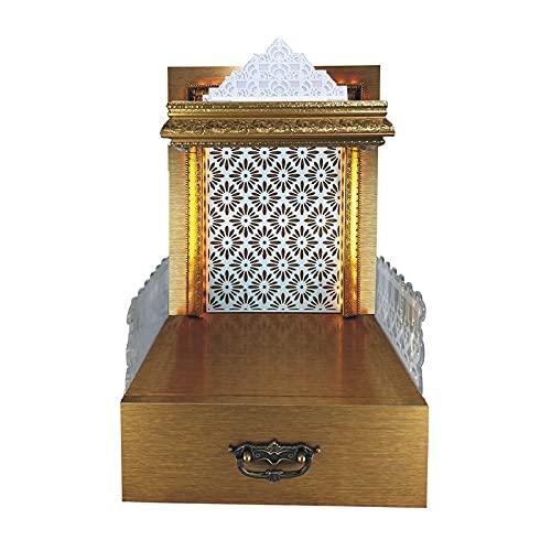 METALLIC INDIA Compuestos de madera y plástico (wpc) Pvc templo de madera laminado con luz LED, 12X16X24 LxWxH, 1 pieza