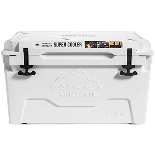 Cascade Mountain Tech Rotomolded Cooler - Heavy Duty for Camping, Fishing, Tailgating, Barbeques, and Outdoor Activities - 45 Quart , White