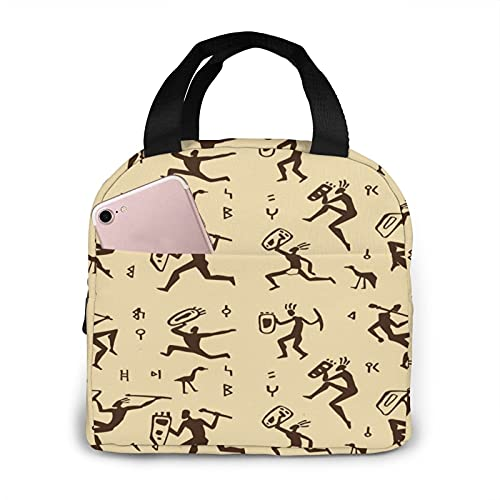 Primitive Rock Painting Portable Insulated Lunch Tote Bag Leakproof Lunch Container For Adults Kids