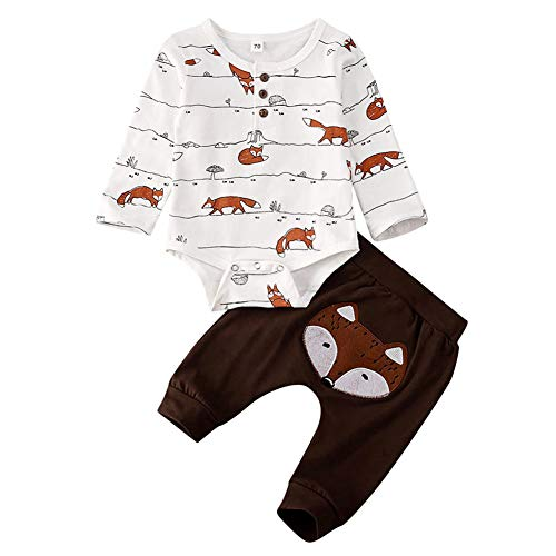 Geagodelia 3tlg Babykleidung Set Baby Jungen Kleidung Outfit Body Strampler + Hose + Mütze Neugeborene Kleinkinder Weiche Babyset Tier (6-12 Monate, Fuchs (Weiß & Braun - Langarm))