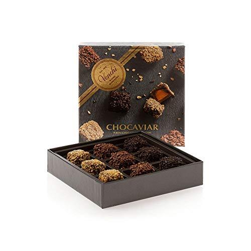 Venchi Cofanetto Regalo Lusso Con Mini Praline Chocaviar Assortiti - Con Croccanti Microsfere Di Cacao - Senza Glutine - 130 ml