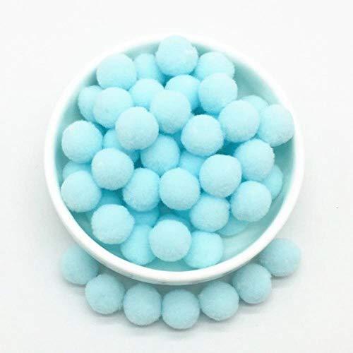 FYN 8-30mm Pompon Pelzkugeln DIY Soft Pom Poms Craft Pompones Hochzeitsdekor Kleber auf Stoff Zubehör, 15mm 25Light Blue