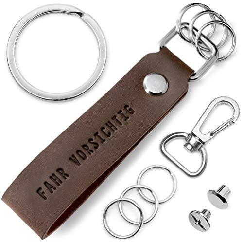 FABACH Leder Schlüsselanhänger mit wechselbarem Schlüsselring in Geschenkbox - Auto Schlüssel Anhänger mit Fahr vorsichtig Gravur - Glücksbringer Führerschein Auto Motorrad