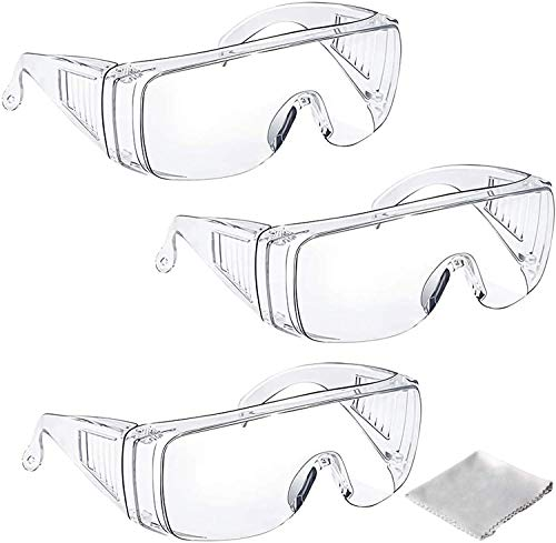 Tavool ゴーグル 保護メガネ 曇り止め 透明 軽量 防曇 保護 安全ゴーグル 花粉めがね 防塵ゴーグル メガネ 眼鏡着用可 クリーニングクロス付き 3個セット