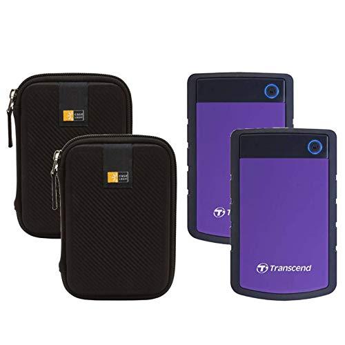 2 Transcend 4TB StoreJet 25H3 Anti-Shock Rugged Portable External Hard Drives (Purple) + 2 Compact Hard Drive Cases