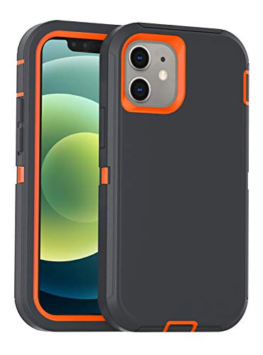 FOGEEK Case Compatible with iPhone 12 Mini, Heavy Duty Protective Case, Drop Protection Rugged Case [Shockproof] Compatible with iPhone 12 Mini 2020 [5.4 inch] (Dark Grey/Orange)