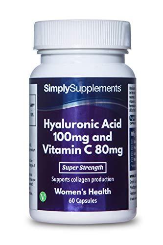Ácido Hialurónico 100 mg & Vitamina C 80 mg - Apto para veganos - 60 Cápsulas - SimplySupplements